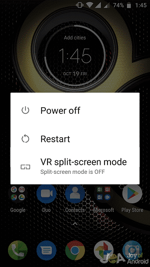 Power off option android phone