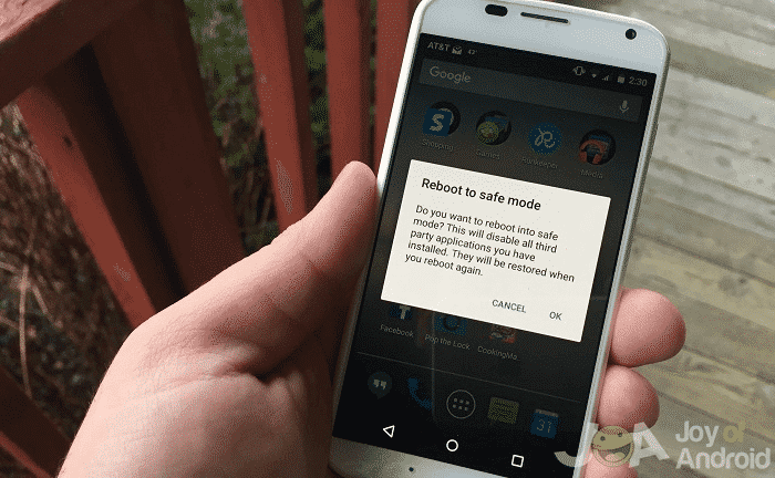 Reboot to safe mode option android