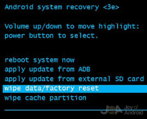 Recovery mode wipe data factory reset