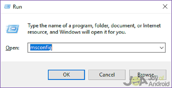 Type in msconfig to open system configuration menu