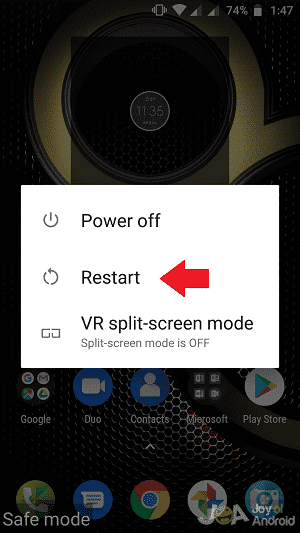 Restart option android phone in safe mode