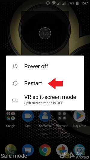 Restart option android phone in safe mode