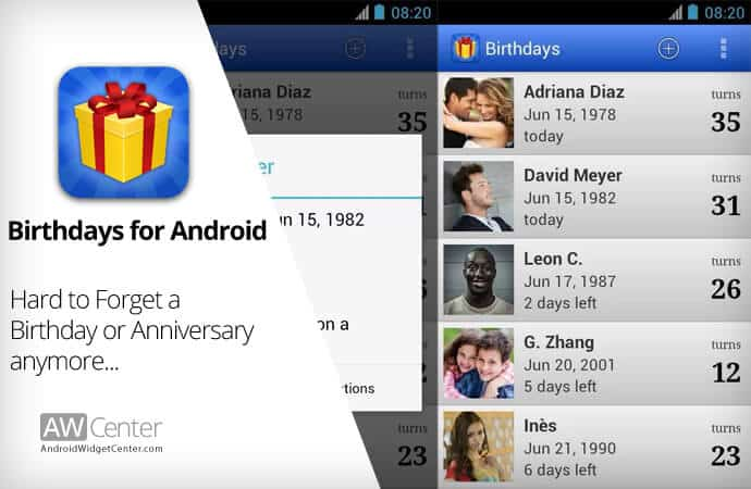 birthdays for android app