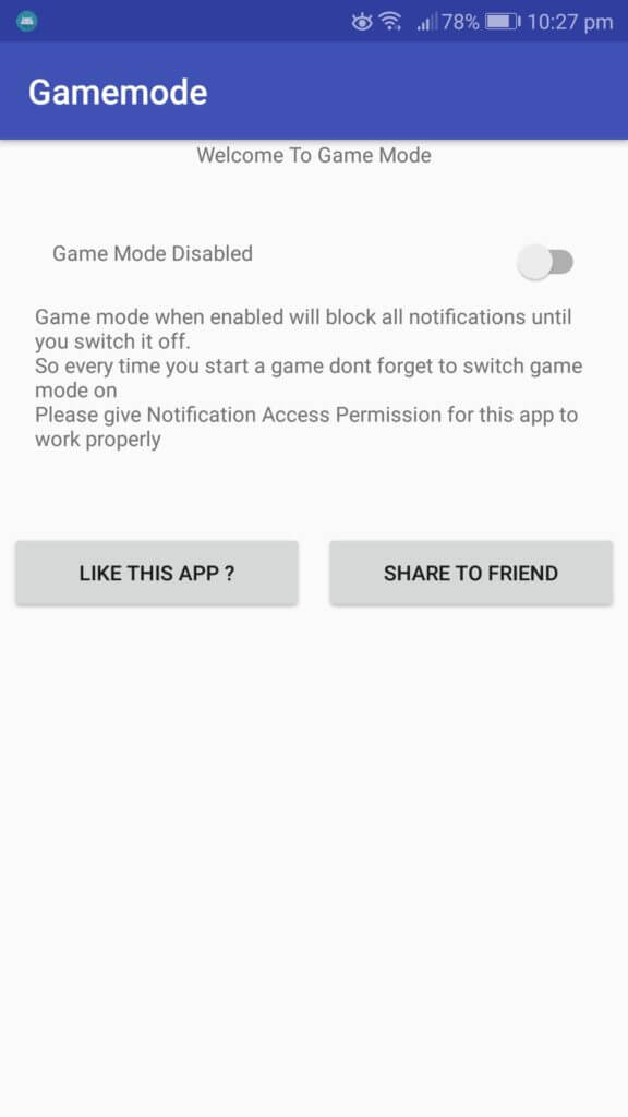 Game Mode Do Not Disturb app user interface