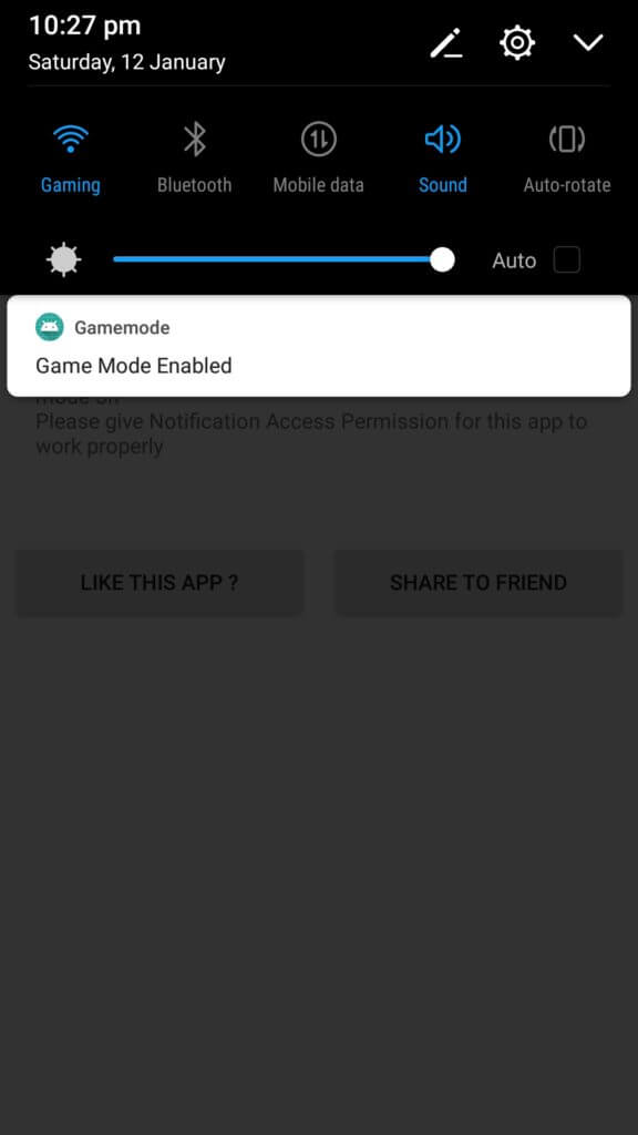 Game Mode Do Not Disturb app under swipe down menu