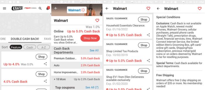 Ebates app for great Walmart savings