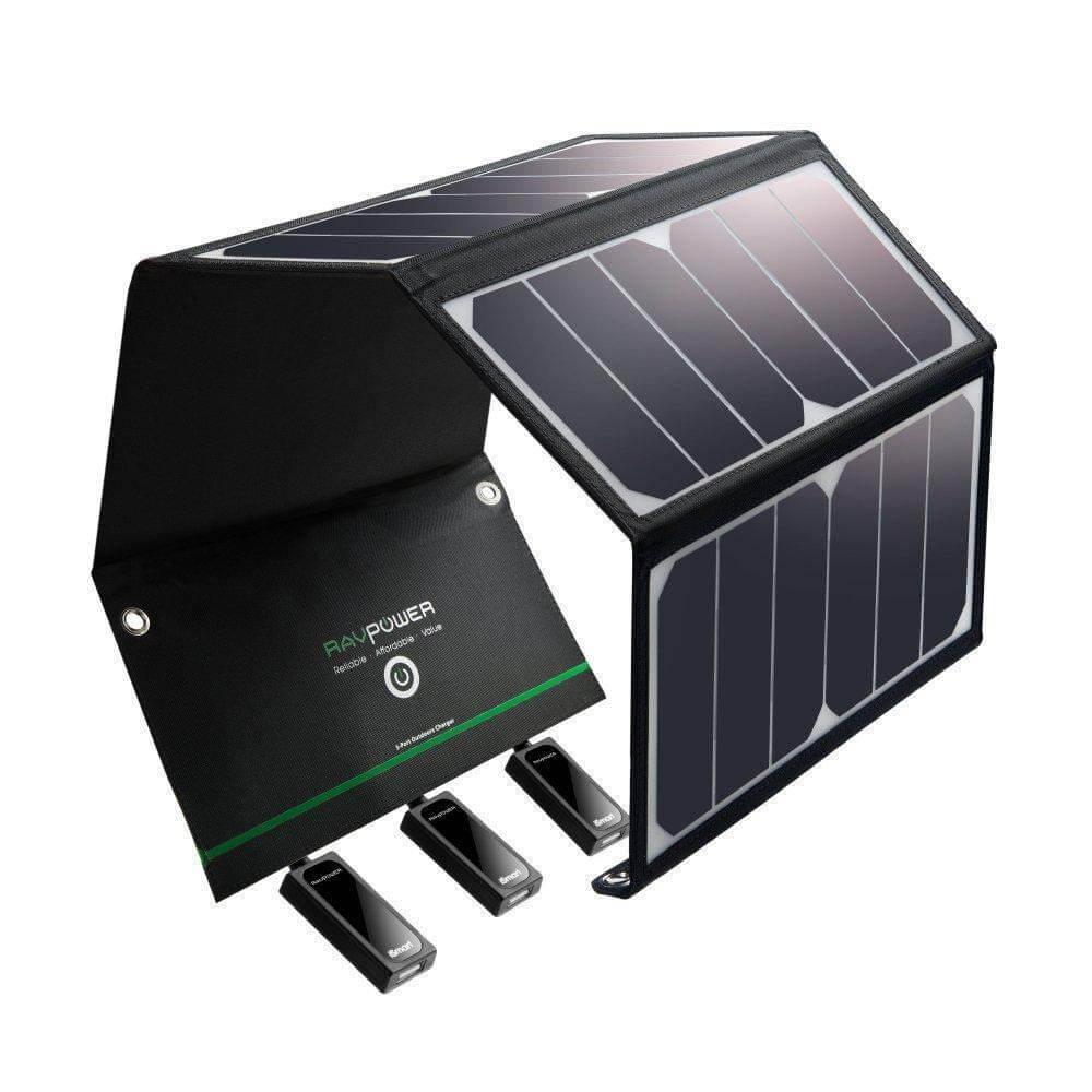 RAVPower 24W Portable Solar Charger with 3 USB Ports