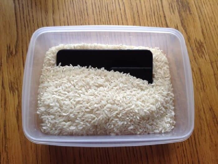 Bury your phone in raw rice