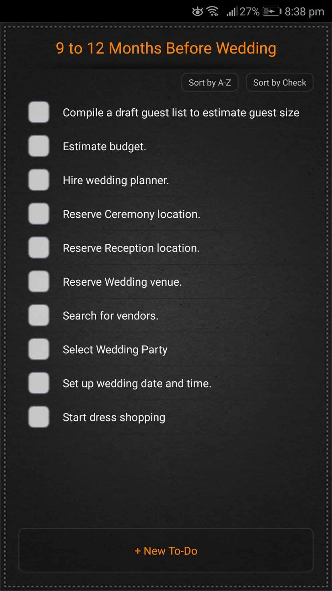 Wedding Planner by PlanBook on Android - User Interface