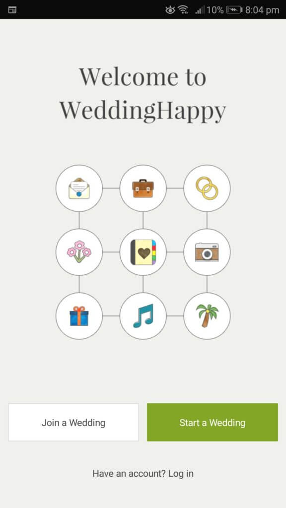 WeddingHappy Wedding Planner App for Android User Interface