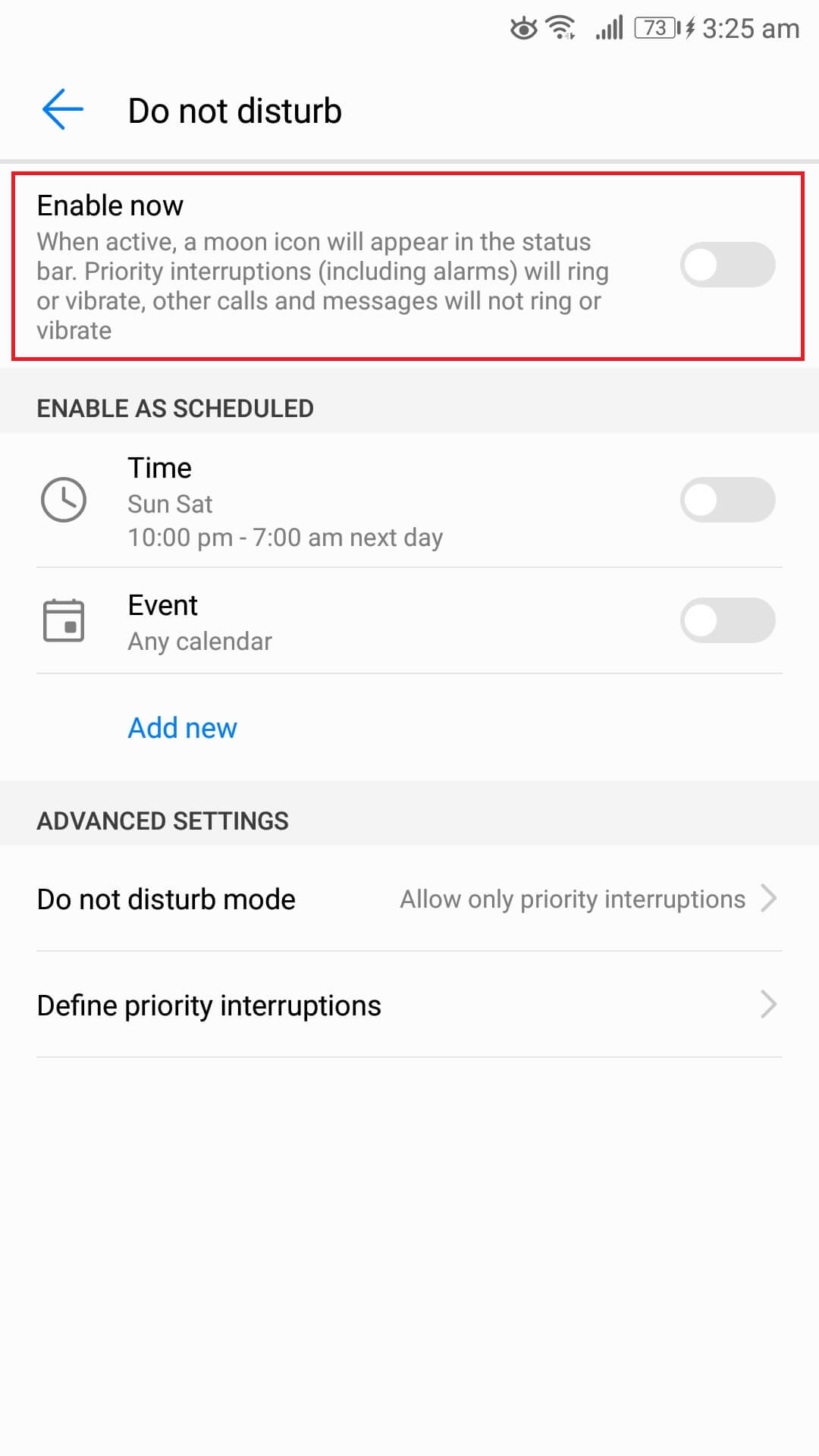 do not disturb android phone settings