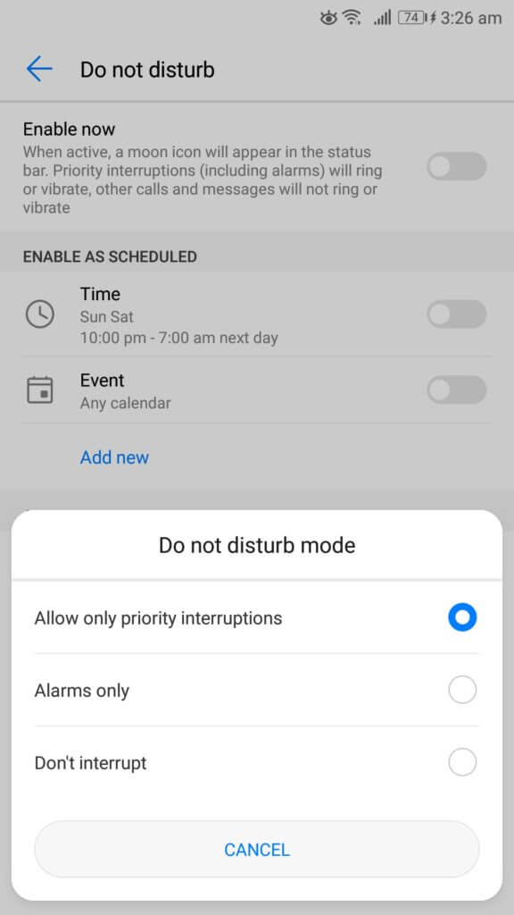 do not disturb mode android