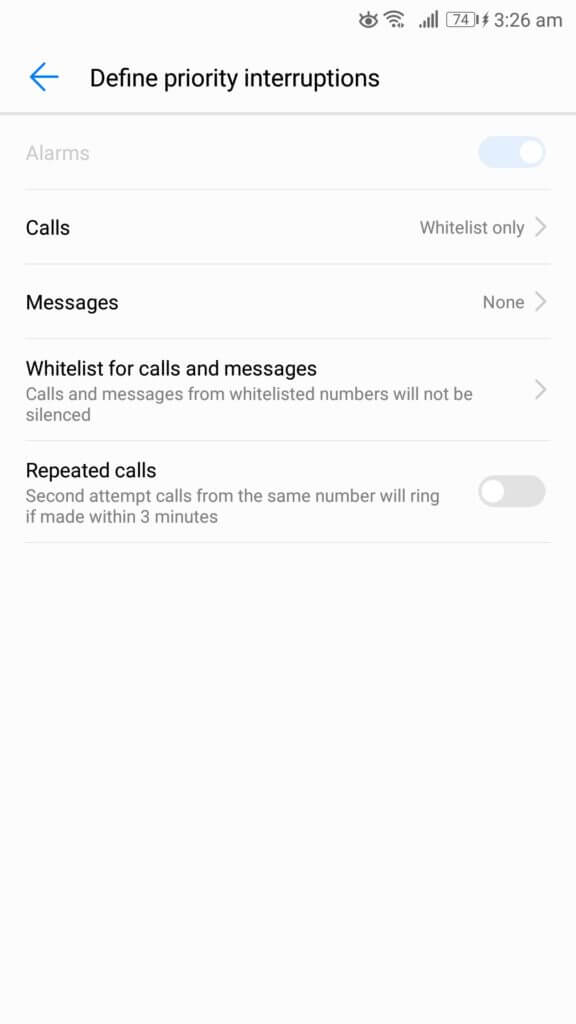 do not disturb android phone define priority interruptions