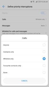 do not disturb feature android whitelist calls message define priority interruption