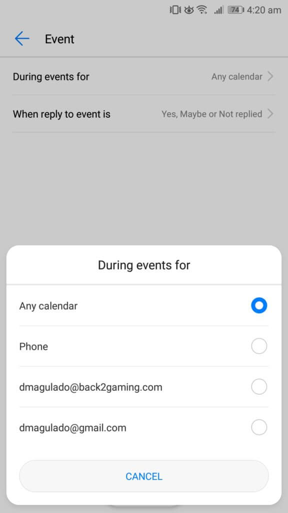 Do not disturb android during events