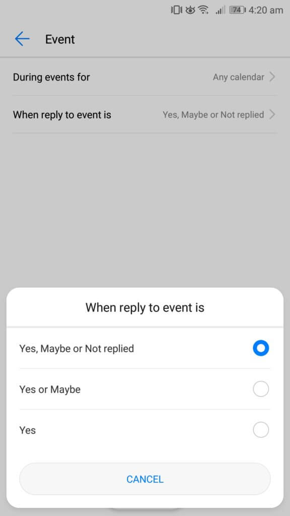 do not disturb android reply event invite