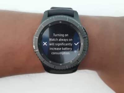 "a watch with a text ""Turning on Watch always on will significantly increase battery consumption"""