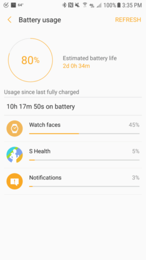 an interface of battery usage