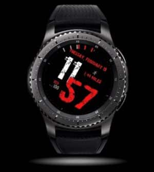 a black and red watch face