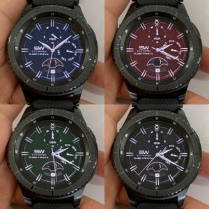 four watch faces with different colors