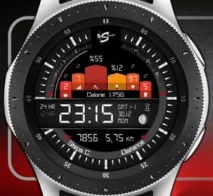 a digital sporty watch face showing current stats
