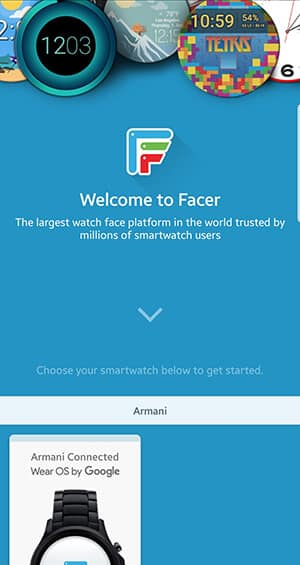 Facer start screen