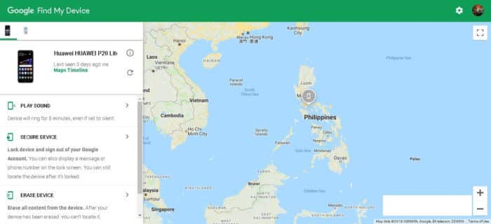 Google Find My Device Interface with Google Maps