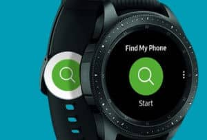 a samsung gear s3 with a Find My Phone on the screen
