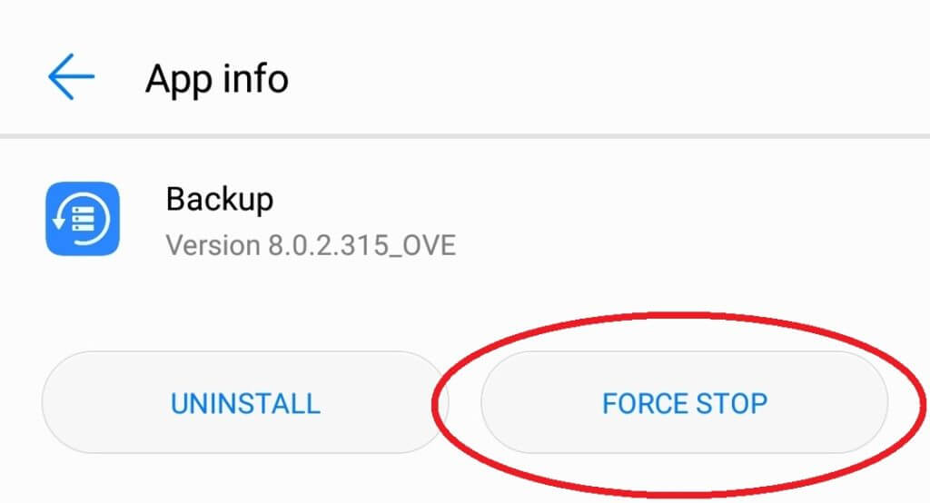 Force stop button