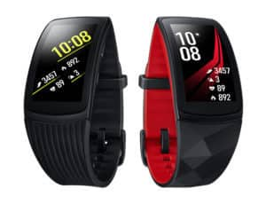 two Gear Fit2 Pro smartwatches with digital displays