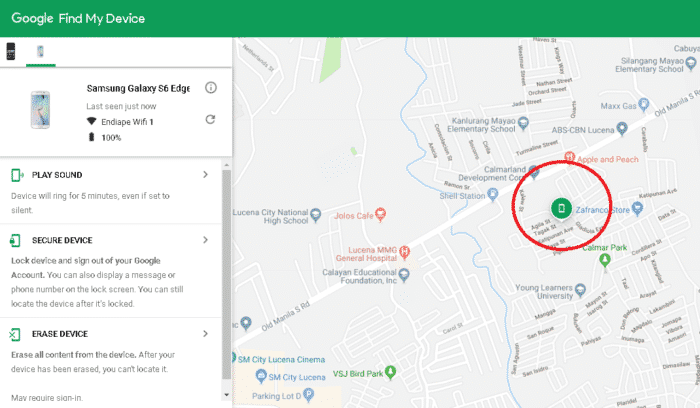 Find My Device interface with a located device