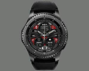 a black and red analog watch face