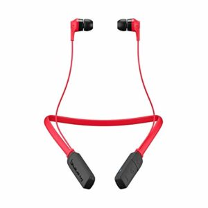red and black colored earbuds