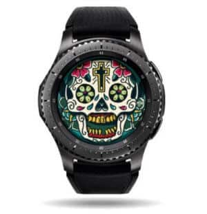a watch face with a mexican style art