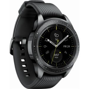 a black smamsung galaxy watch with analog display