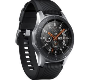 a black and silver smartwatch with an analog display