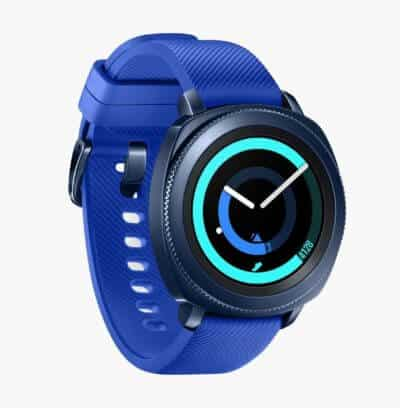 a blue samsung gear sport with an analog display