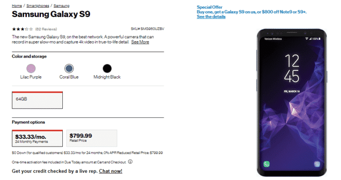 verizon samsung s9 deal