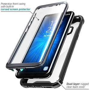 Galaxy S8+ Plus case, i-Blason Full-Body Rugged Clear Bumper Case with Built-in Screen Protector