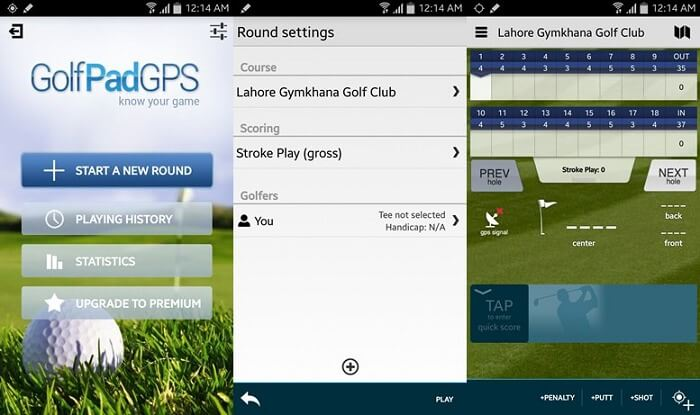 Golf GPS User Interface
