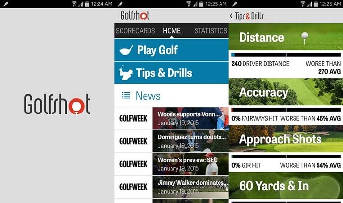 Golfshot User Interface