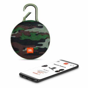 JBL Clip 3 camo design with a smartphone beside it