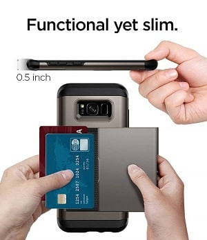 Spigen Slim Armor CS Galaxy S8 Case with Slim Dual Layer Wallet Design and Card Slot Holder