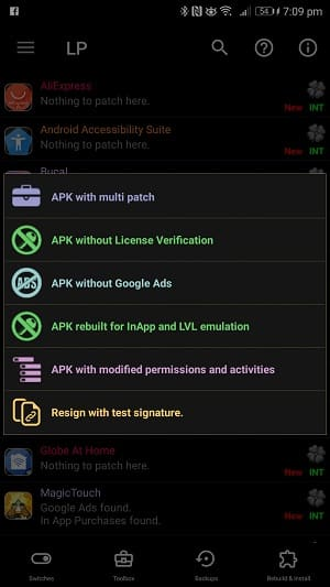 Create Modified APK Lucky PAtcher List
