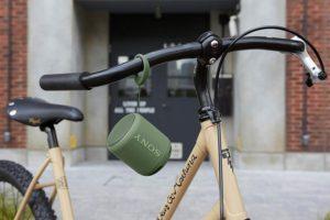 Sony XB10 wireless speaker attached to a bike