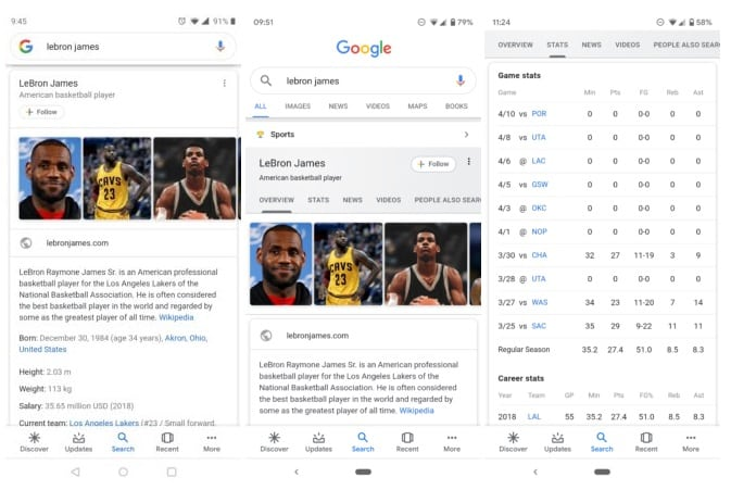 Sports Card Results On Google Mobile