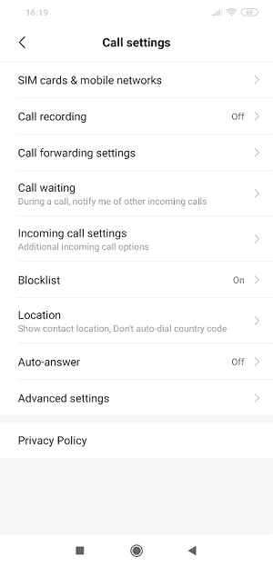 Settings on stock android