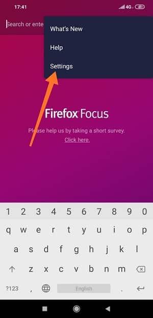 Firefox Focus Options