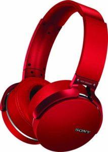 red sony headphones