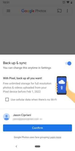 Pixel 3 free back up storage